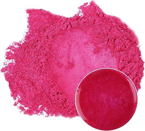MENNYO Pigmento para Resina Epoxi, Colorante Jabones 50g Color Rosa Mica en Polvos Metálico Natural para Kit Hacer Velas, Fabrica Slime, Pintura, ...