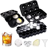 3 Pcs Ice Cube Trays , Silicone Spherical Brick Stone Ice Cube Tray Ice Cubes , Used for Used For Juice Cocktails And…