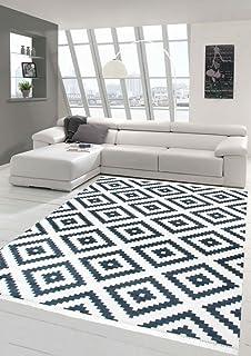 Merinos Skandinavischer Teppich Karo Schwedisches Design Waschbar In Creme  Schwarz Größe 80x150 Cm