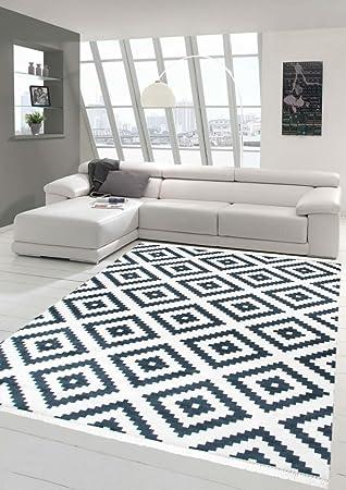 Mérinos Scandinave Tapis Suédois Design Lavable En Crème Noir 80x300 Cm
