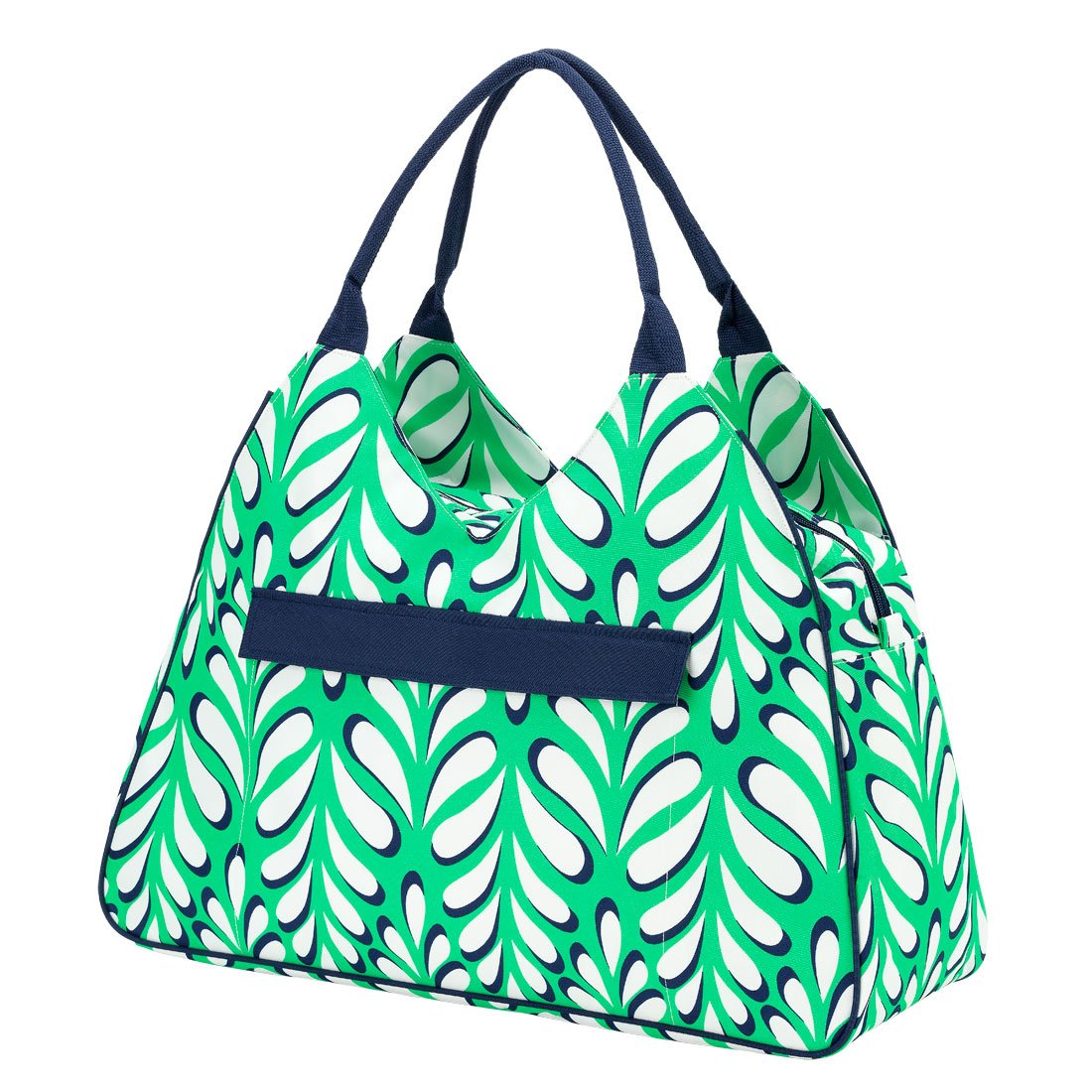 High Fashion Print Water Resistant Large Beach Bag Tote with Zipper Top Island Palm