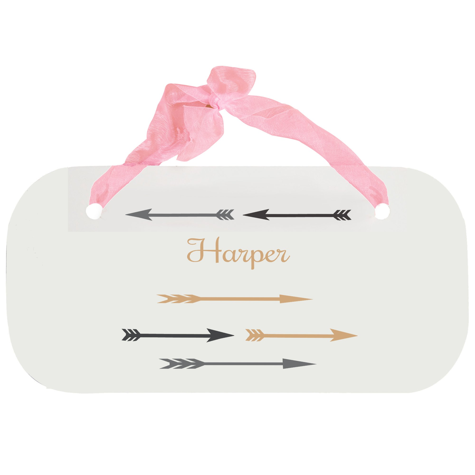 Personalized Arrows Gold and Grey Nursery Door Hanger Plaque with Pink Ribbon