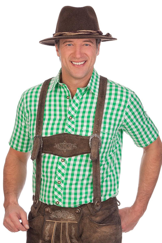 H1514 - Trachten Herren Hemd mit 1/2-Arm - WOLFACH - grün, türkis