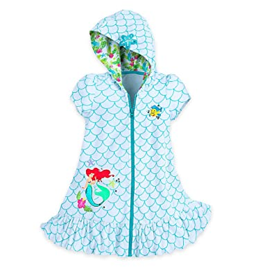 7754a52610 Amazon.com: Disney Ariel Swim Cover Up for Girls - Size 5/6 White ...
