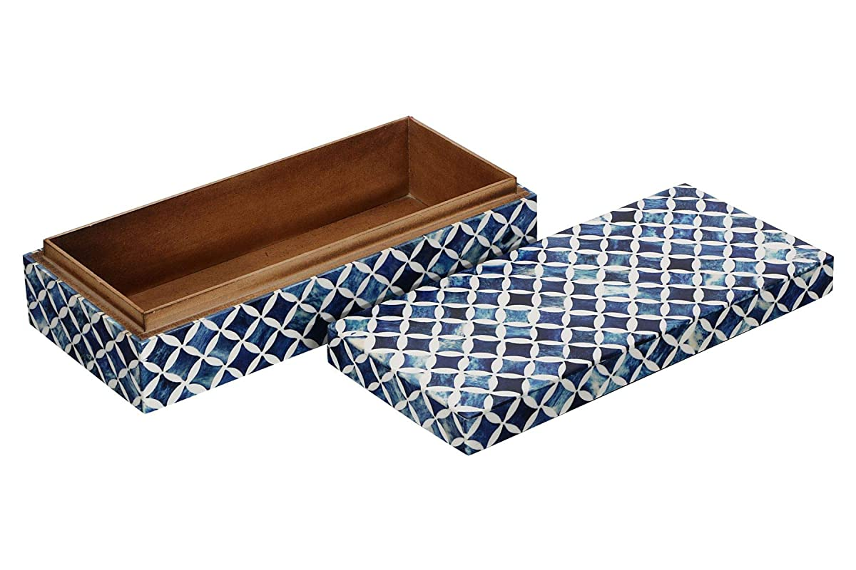 Handicrafts Home Jewelry Gift Boxes - Jewelry Organizer and Storage Box for Women Girls Bedroom Office – Made of Buffalo Bone, Resin Inlay Artwork with Premium Quality Pine MDF Wood (Blue-White)