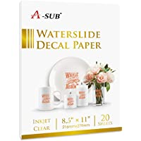 A-SUB Waterslide Decal Paper for Inkjet Printers 20 Sheets Clear Water Slide Transfer Paper 8.5x11 in for DIY Tumbler…