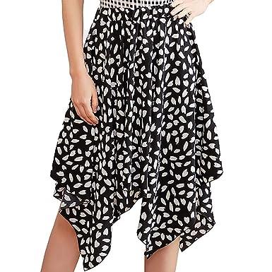 d1f9533dd7 Tanlo 2019 Women's Summer Bohemian Half-Length Asymmetrical Print Skirt  Print Casual Retro Skirts (
