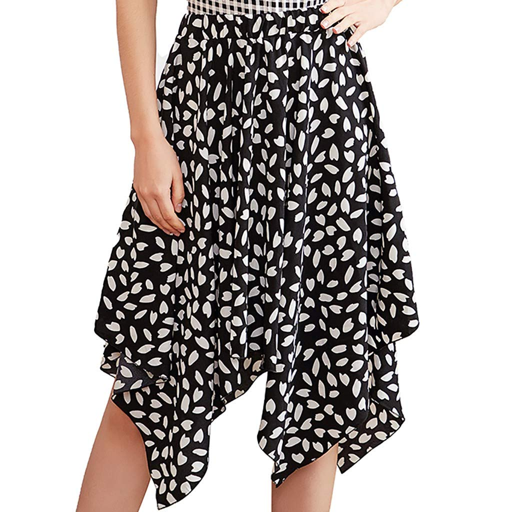 Women's Maxi Skirts Bohemian Elastic Waist Half-Length Print Skirt Print Casual Retro Irregular Hem Skirt (XL, Black)