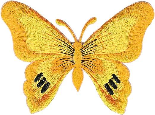 Schmetterling Falter Gelb Aufn/äher B/ügelbild Patch Applikation