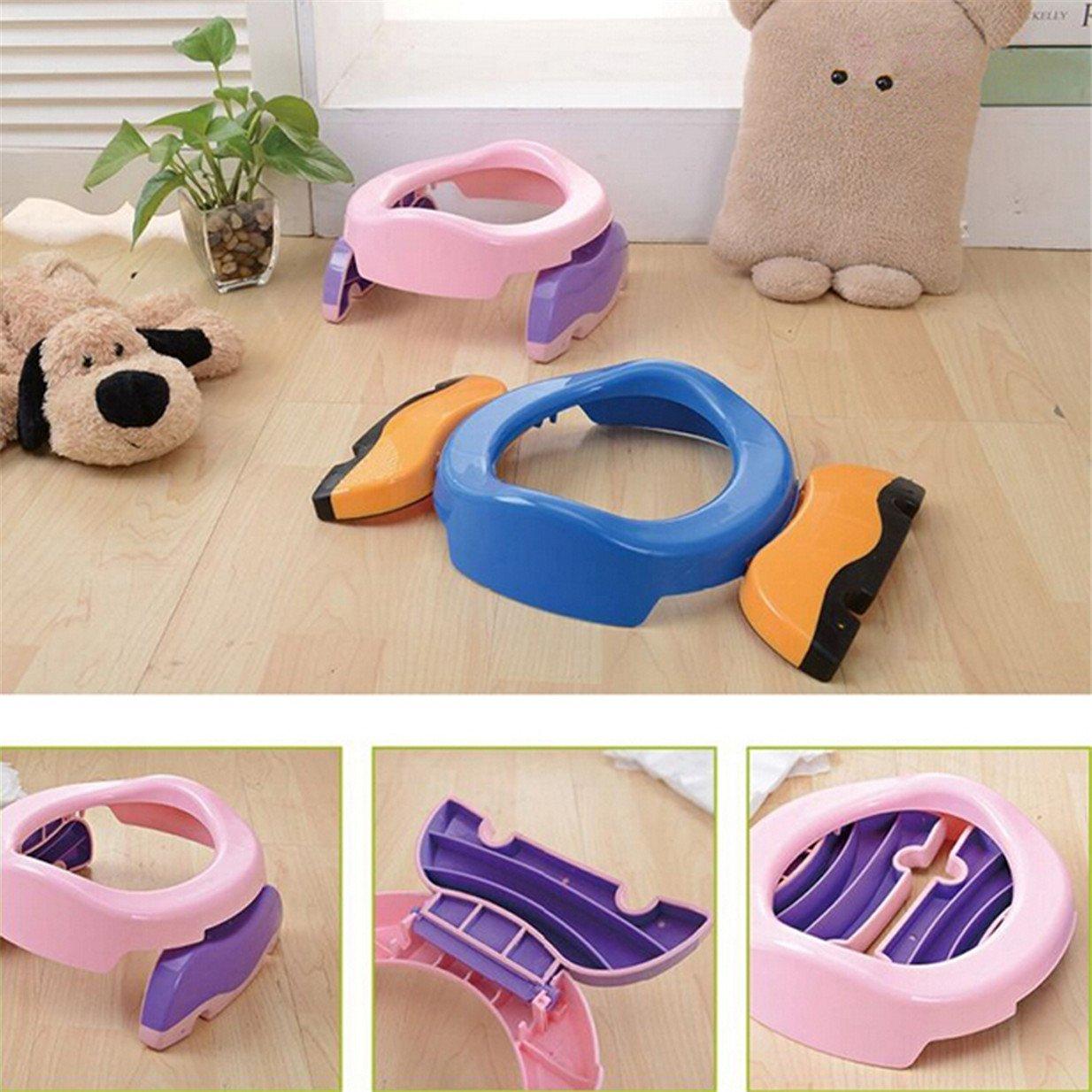 Lalang Baby Kind Faltbarer Tragbar Reise Unterwegs Potty T/öpfchen Toilettensitze Toiletten Trainer blau