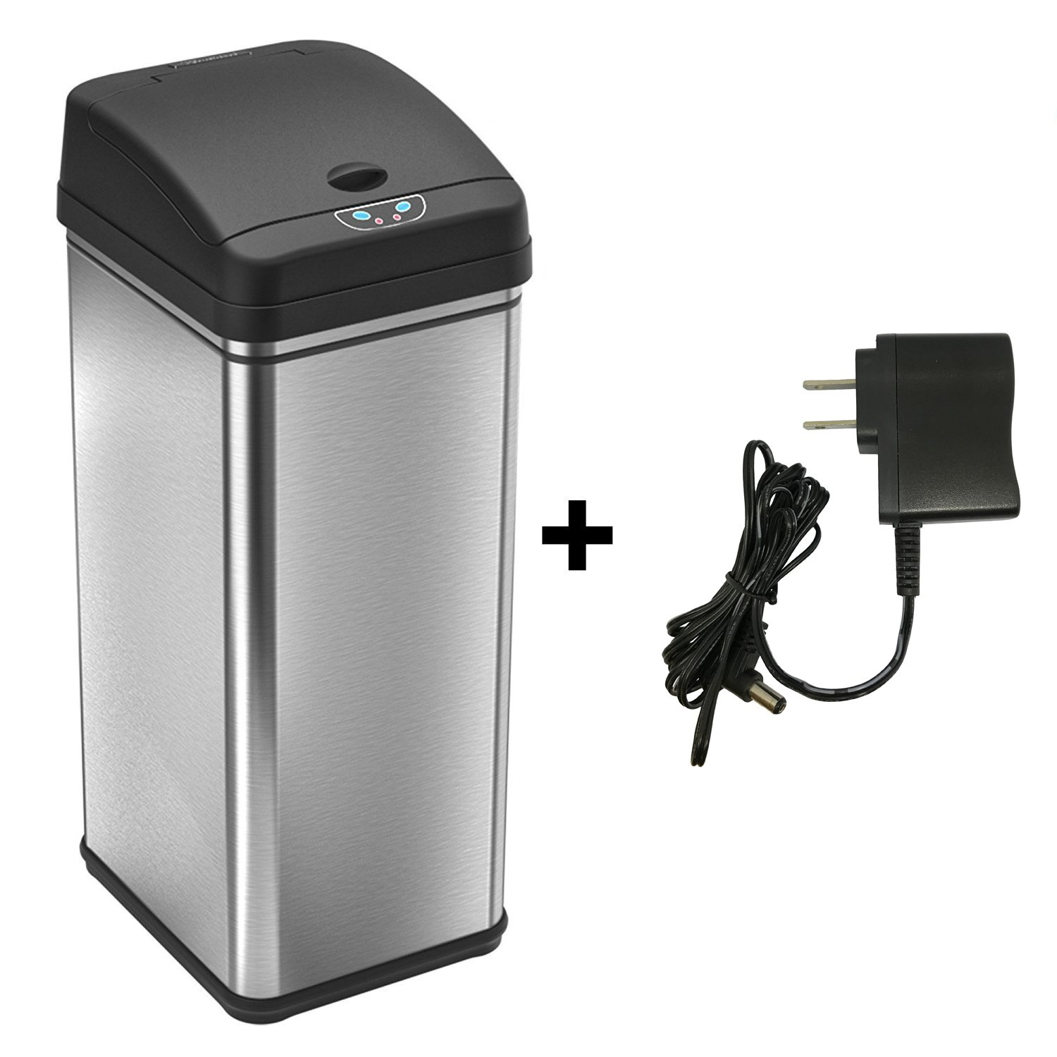 iTouchless 13 Gallon Automatic Touchless Sensor Kitchen Trash Can with AC Adapter, Odor Filter Deodorizer, Platinum Limited Edition (With Ac)