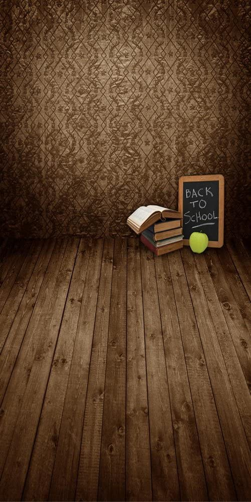 GladsBuy Books and Apple 10 x 20 Computer Printed Photography Backdrop Textures Theme Background S-923