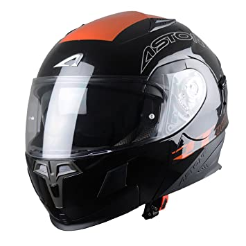 Casco Moto Modular ASTONE - RT1000 GRAPHIC EXCLUSIVE NEGRO y NARANJA (L)