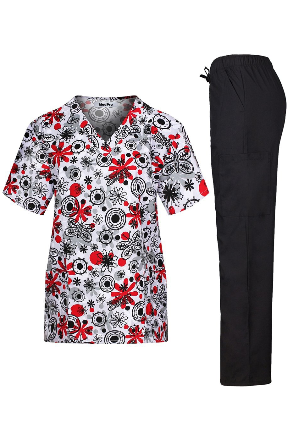 MedPro Women's Medical Scrub Set with V Neck Top and Cargo Pants Black Red XS