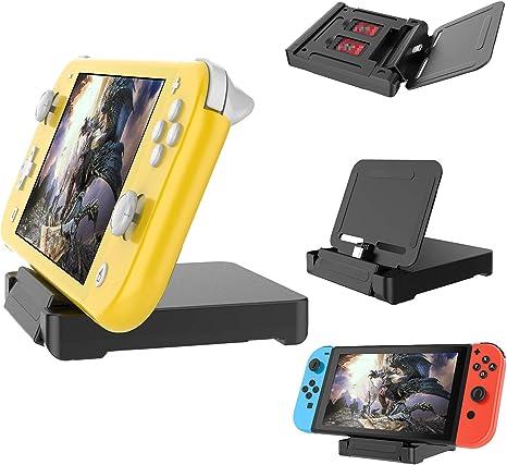 Soporte cargador para consola Nintendo Switch Lite, estación de carga portátil con 2 ranuras para tarjetas de juego y cable USB tipo C para Nintendo Switch Lite/Nintendo Switch: Amazon.es: Videojuegos