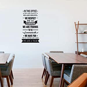 """Vinyl Wall Art Decal - In This Office We Do Teamwork - 40"""" x 22"""" - Trendy Inspirational Work Values Quote For Employers Office Office Meetings Conference Room Company Organization School Decor (Black)"""