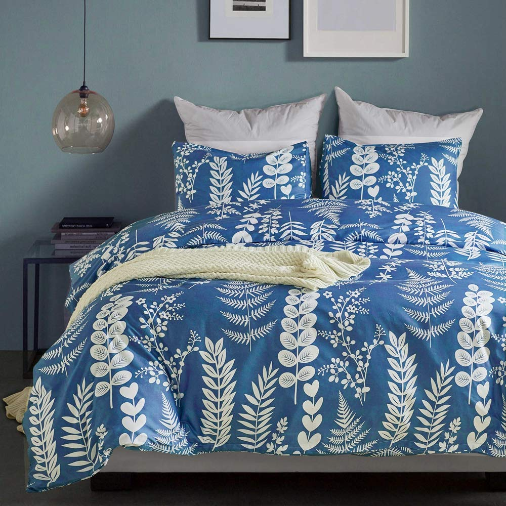 Cozyholy Luxury Modern Duvet Cover Tropical Design Comforter Cover Vintage Bohemian Set Ultra Soft Zipper Closure, 3 Pieces Bedding Set Blue White Flower Leaves, Queen