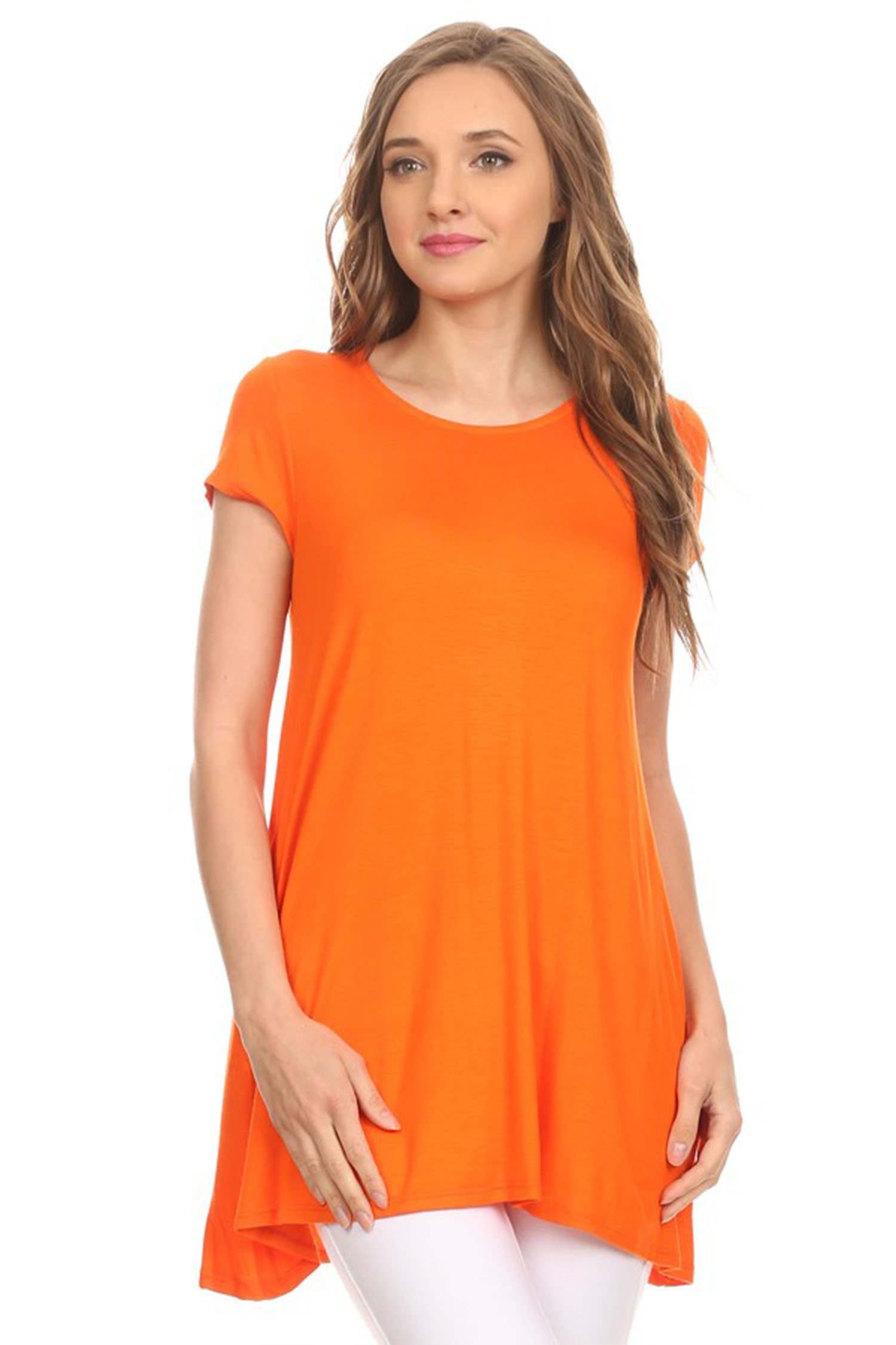 Short Sleeve Loose Fit T Shirt Tunic Top with pocket/Made in USA. Orange S