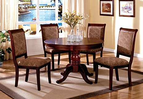 5 Pc. St. Nicholas II In A Cherry Wood Finish Round Table Dining Set