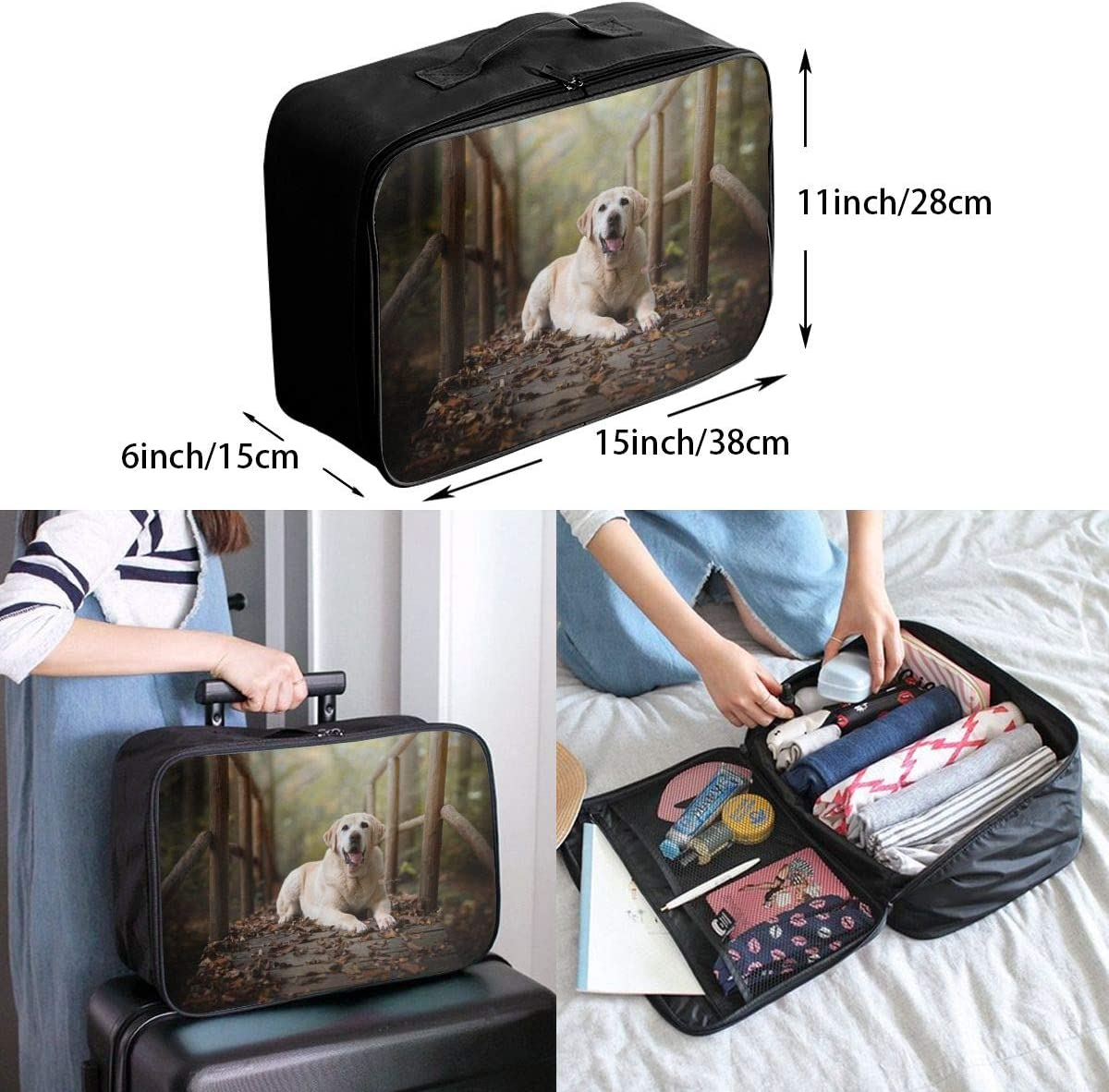 Dog Animals Travel Carry-on Luggage Weekender Bag Overnight Tote Flight Duffel In Trolley Handle