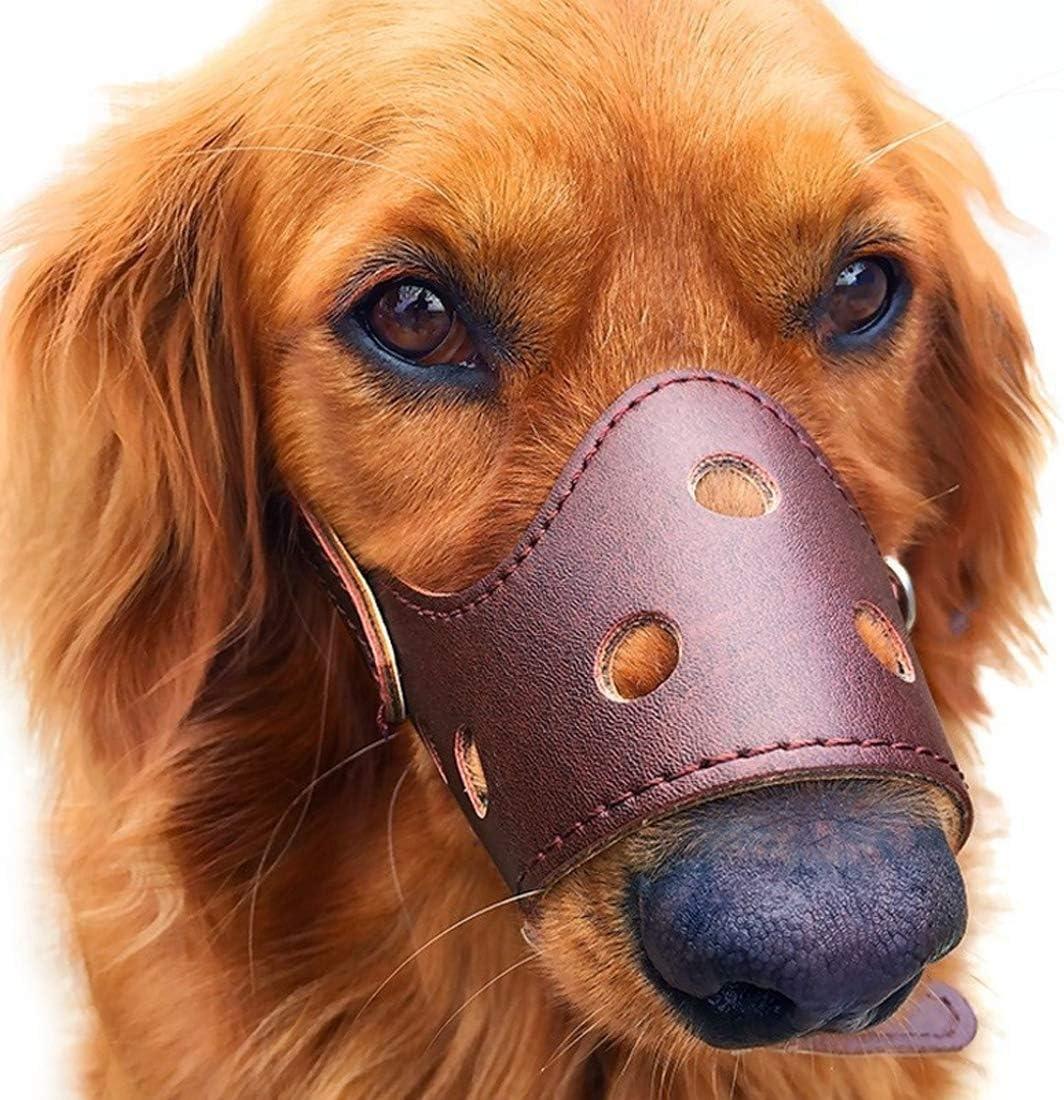 FishBabe Bozal de Piel Transpirable para Perro para morder ladridos 4 Colores Mascotas Cubierta de Boca 5 tamaños