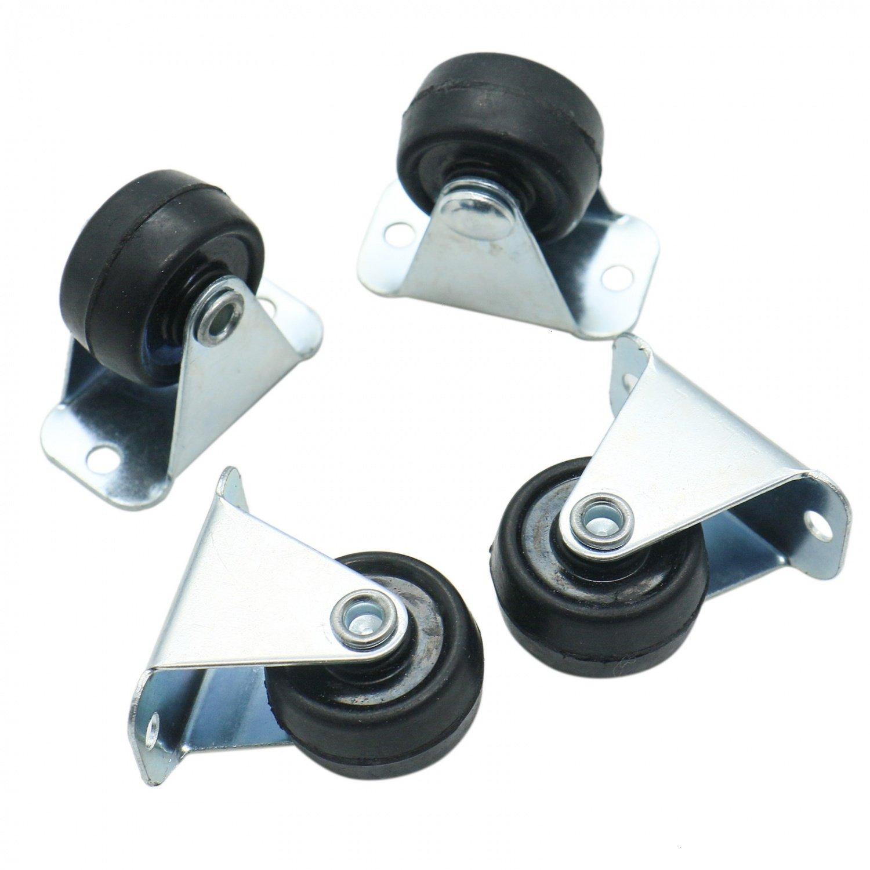 HUELE 4 Pcs Heavy Duty Rubber Fixed Caster Wheels with Rigid Non Swivel Top Plate 1 Inch