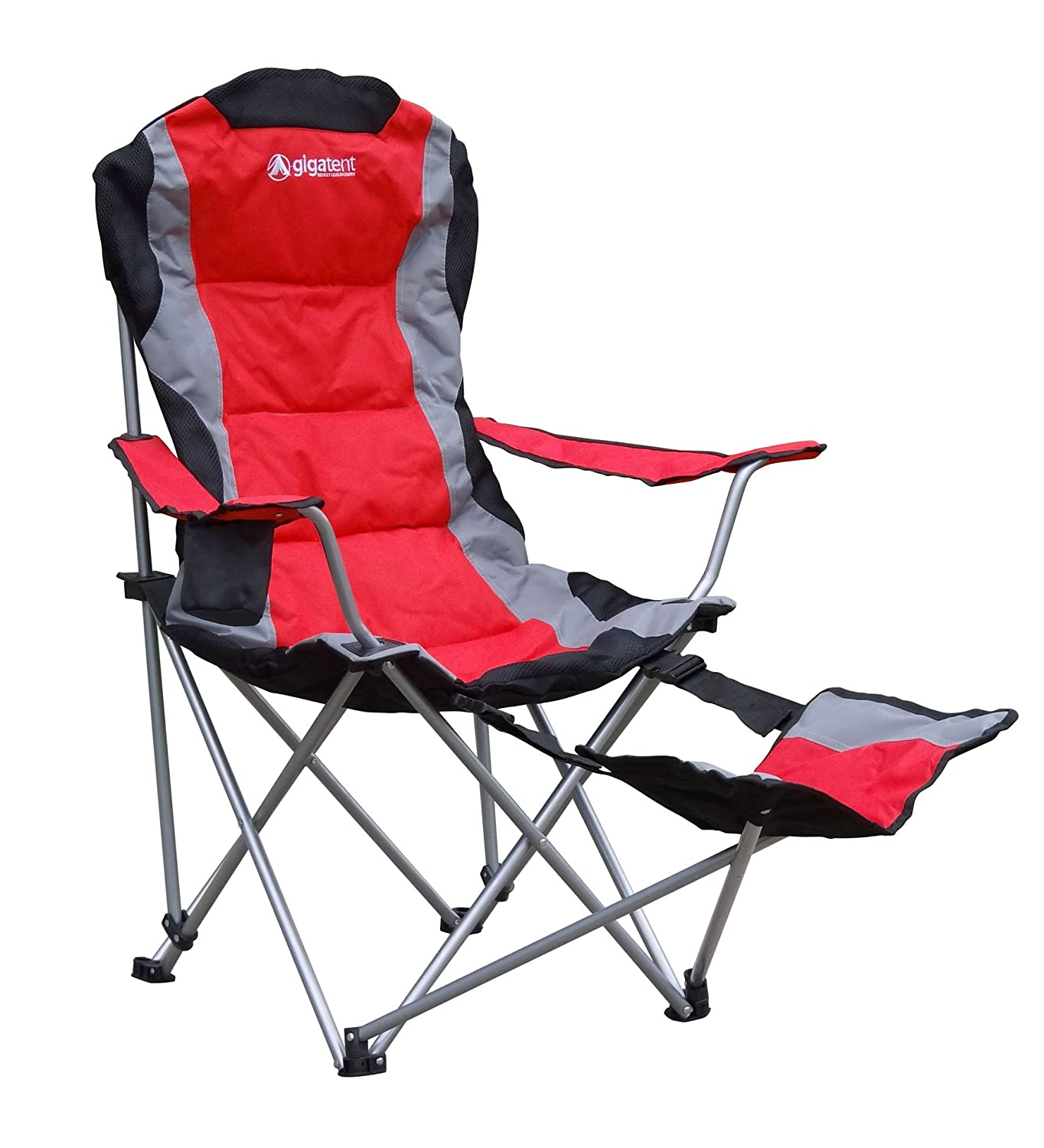 gigatent camping chair with footrest red amazon co uk sports