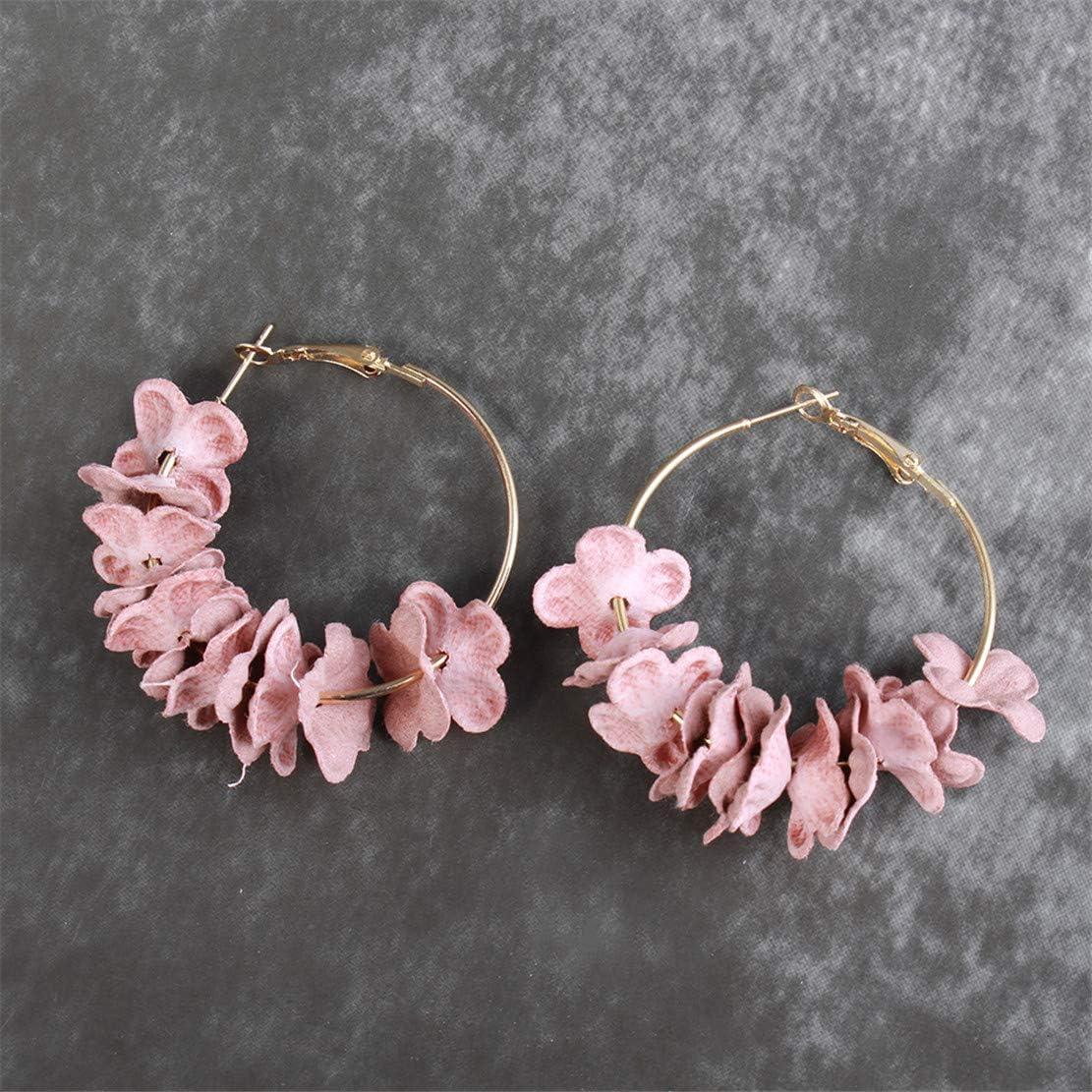 Botreelife Tissu Fleur P/étale Boucles DOreilles Rondes Pour Les Femmes Boh/ème Cercle Hoops Boucle DOreille