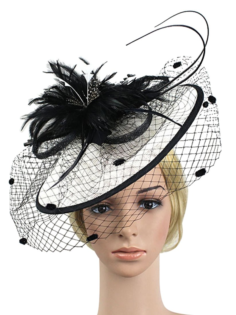 Z&X Fascinator with Headband Derby Party Feather Floral Mesh Pillbox Hat Black by Z&X (Image #2)