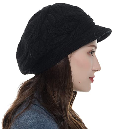 2336e099242 Womens Beanie Warm Winter Knitted Hat Slouchy Wool Ski Cap Beanie ...