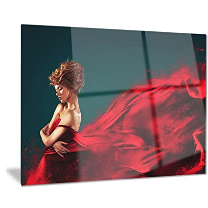 Amazon.com  Woman In Flying Red Dress - Portrait Digital Art Metal ... e1a14ae881