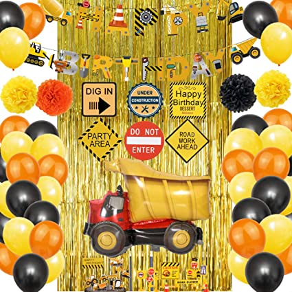 Construction Birthday Party Decorations for Kids,Construction Theme Birthday Party Supplies,Happy Birthday Banner,Traffic Signs Model Birthday Decorations Kits