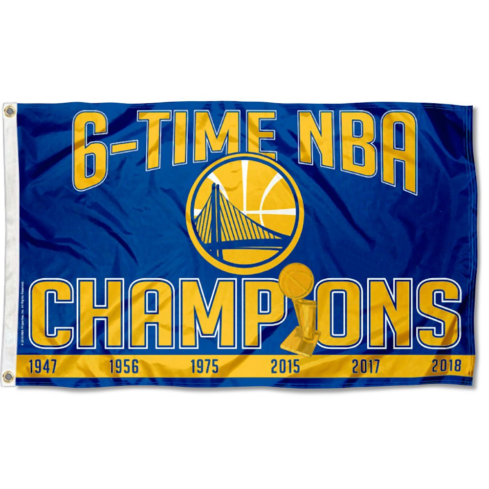 WinCraft Golden State Warriors 6 Time NBA Champions Flag and Banner