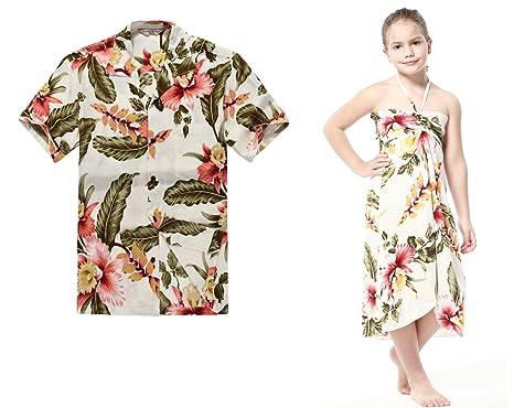 bfdc2b8ab429 Matching Hawaiian Luau Outfit Men Shirt Girl Dress in Cream Rafelsia Men S Girl  10