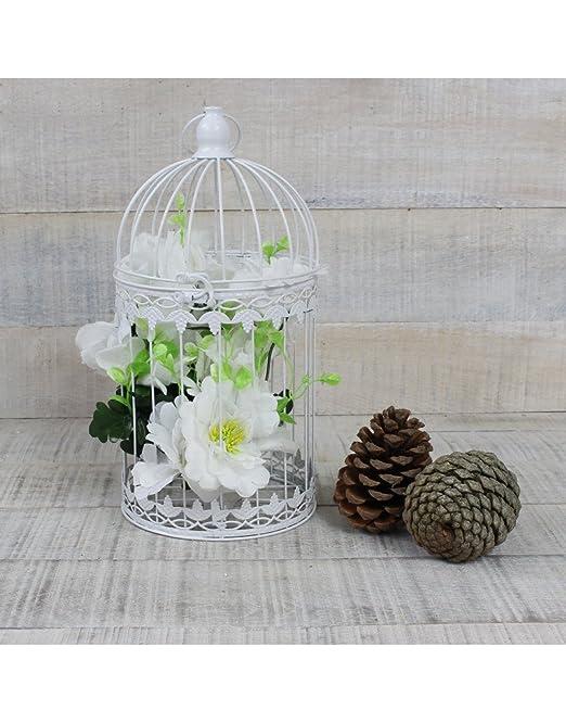 Hogar y Mas Jaula Decorativa Blanca de Metal para decoración ...