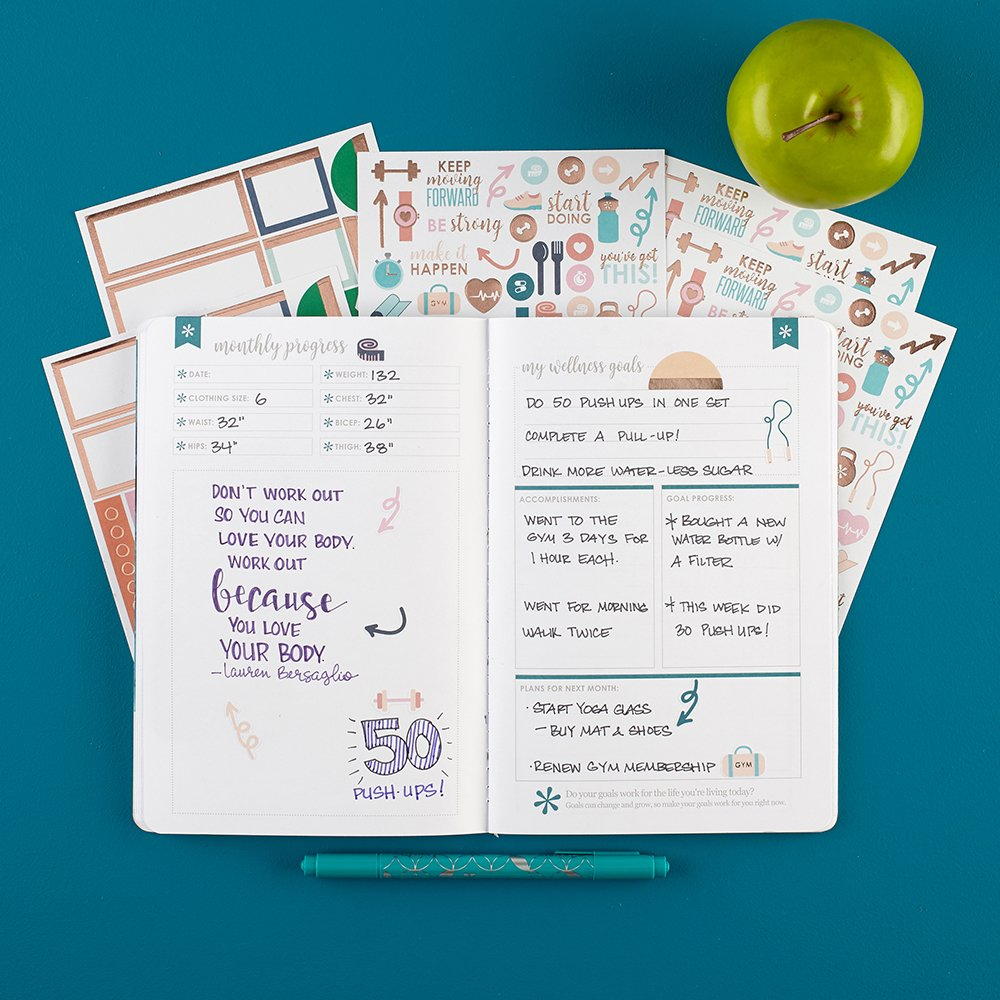 Erin Condren Wellness Log Bundle with Stickers (Includes Petite Planner w/Illustrative and Functional Stickers by Erin Condren (Image #2)