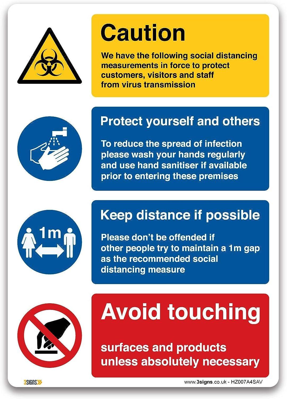 Adesivo in vinile autoadesivo segnalazione della porta A1 841x594mm per ufficio 3 Segni Social Distancing misure Sign vendita al dettaglio