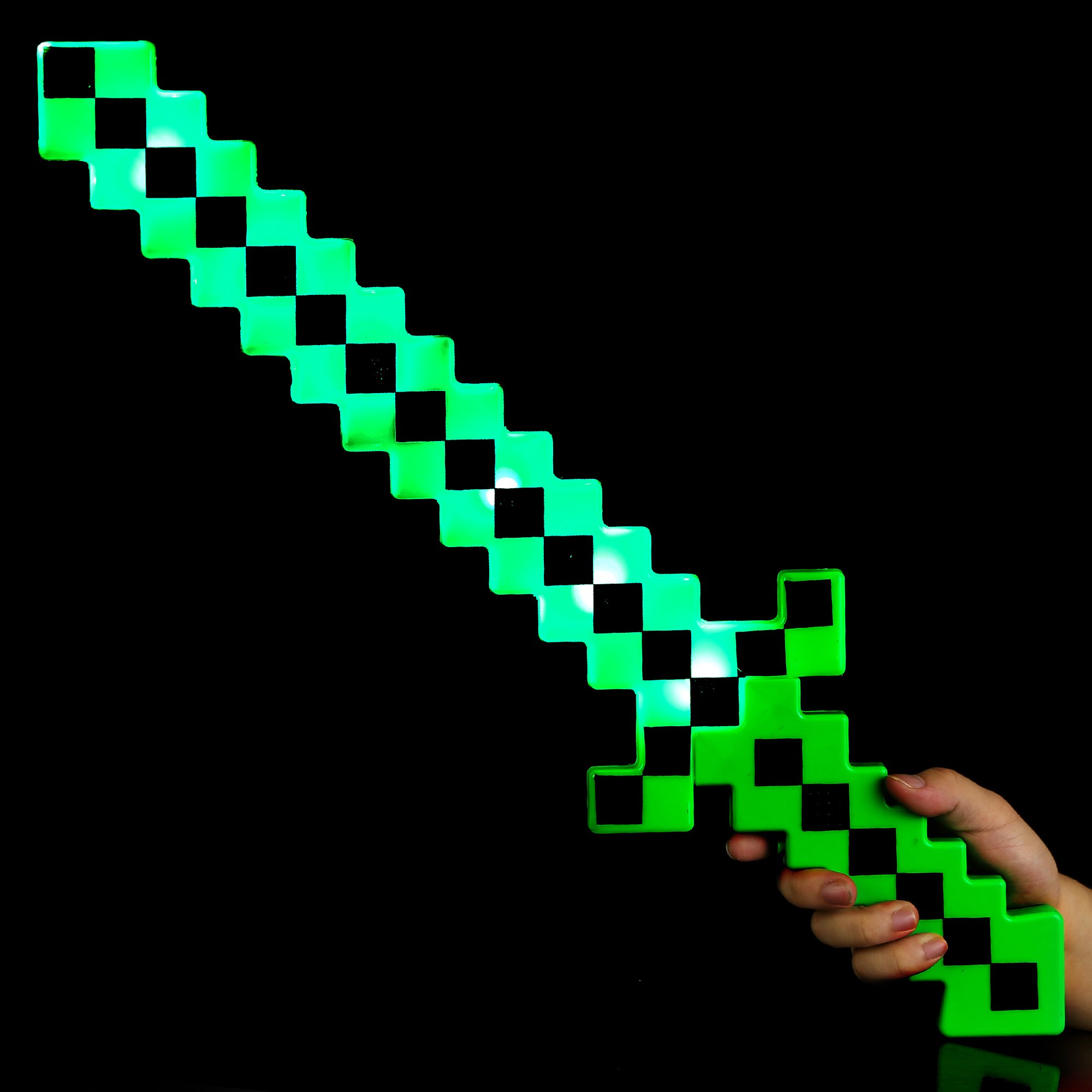 Fun Central BC972, 1 Pc, 24 Inches Green LED Light Up Pixel Sword, Kids Toy Sword, Light Sword Toy, Flashing Sword, LED Sword