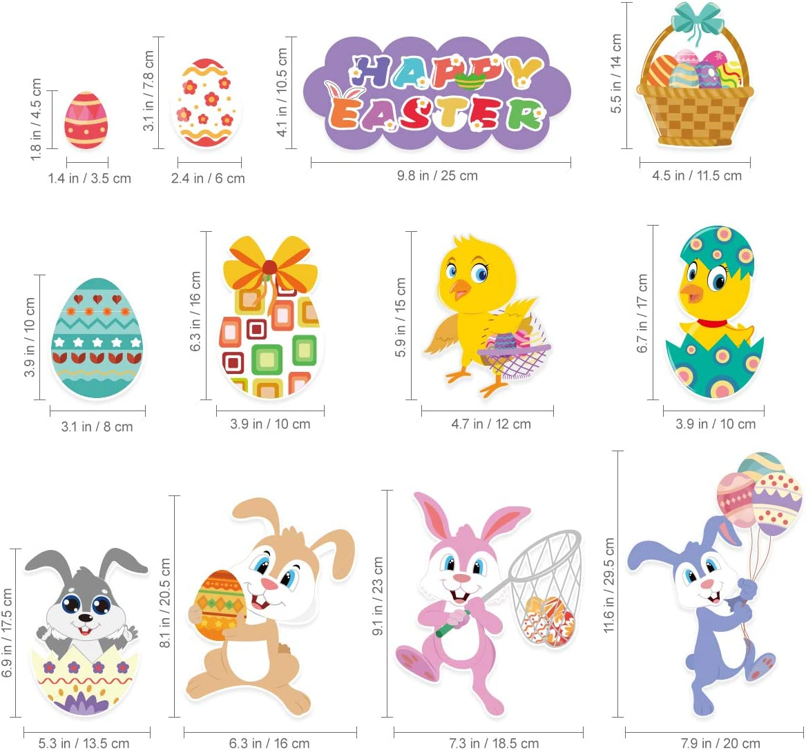 57PCS Easter Bunny Stickers for Party Supplies Home Decorations Removable PVC Stickers 4 Large Sheets Unomor Easter Decorations Window Clings