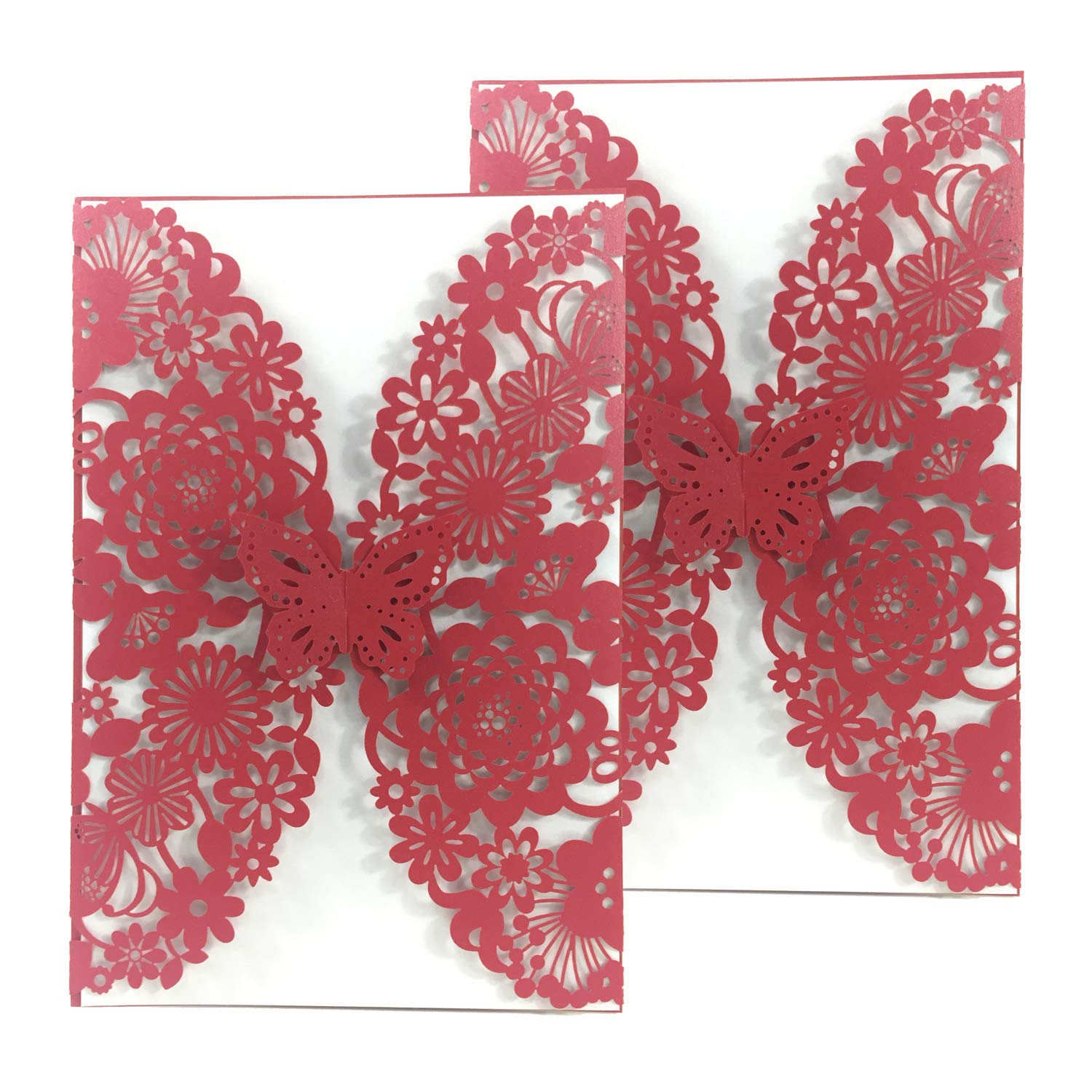 50PCS Pear Paper Laser Cut Bronzing Wedding Baby Shower Invitation Cards with Butterfly Hollow Favors Invitation Cardstock for Engagement Birthday Graduation (Red) Kate Princess CX16