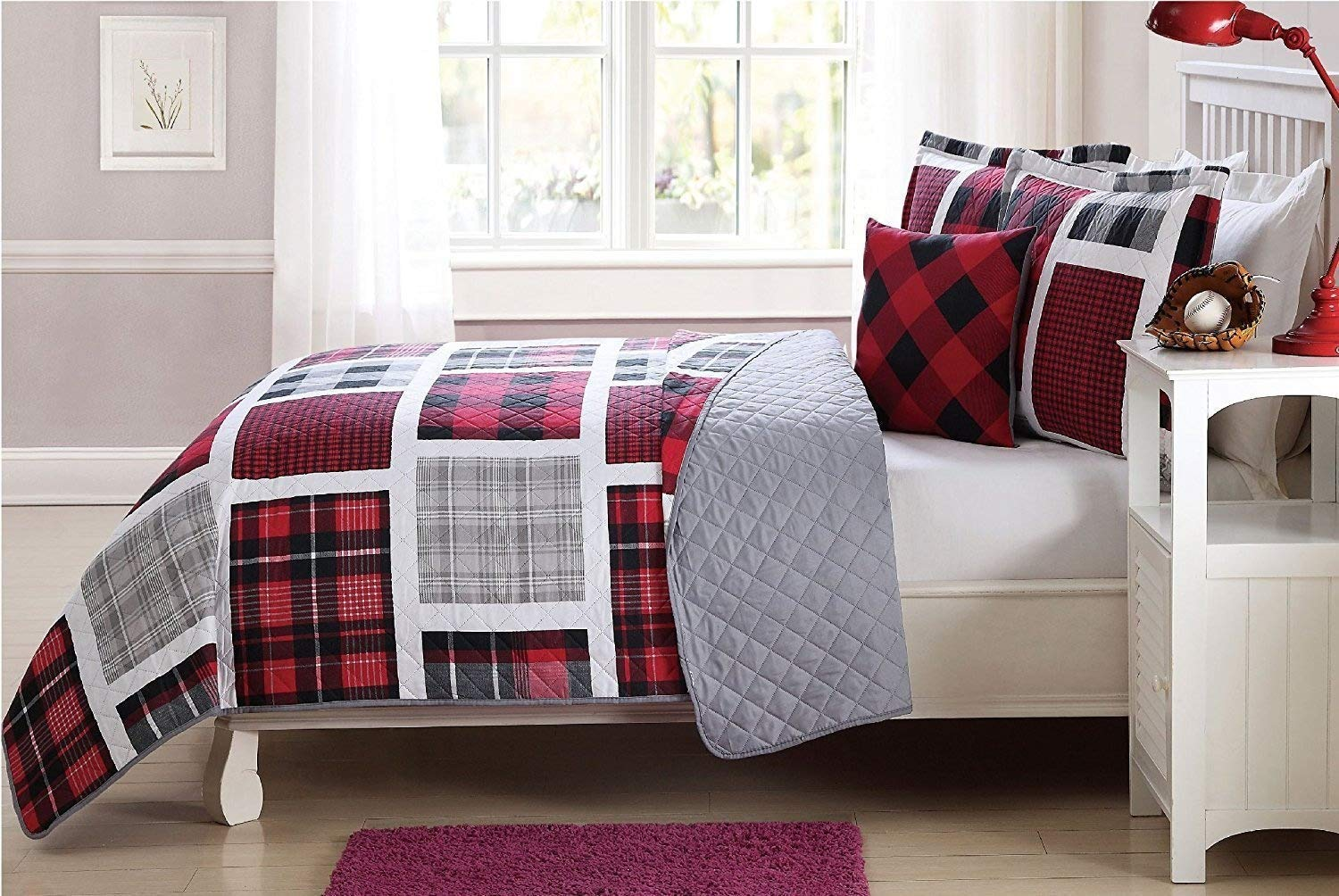 Elegant Home Multicolor Red Black White Grey Printed Plaid Patchwork Design Colorful 3 Piece Quilt Bedspread Bedding Set with Decorative Pillow for Kids/Boys # Plaid (Twin Size)