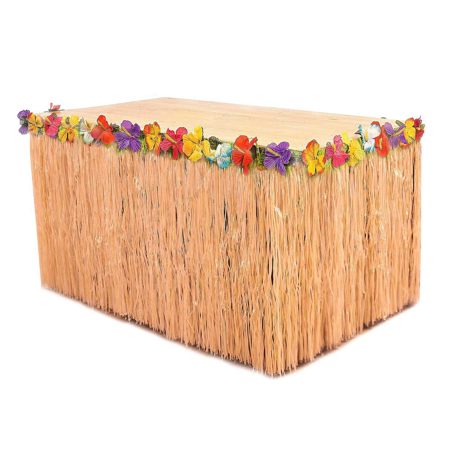 YAYALE Hawaiian Luau 1pc String Grass Table Skirt + 12pcs Tropical Faux Palm Leaves + 24pcs Hibiscus Flowers for Tabletop Decoration Jungle/Beach Party Supplies (Yellow)