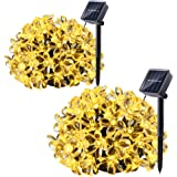 Qedertek 2 Pack Solar String Lights, 21ft 50 LED Fairy Flower Blossom Christmas Decorative Lighting for Outdoor, Home, Lawn, Garden, Patio, Party and Holiday Decorations(Warm White)