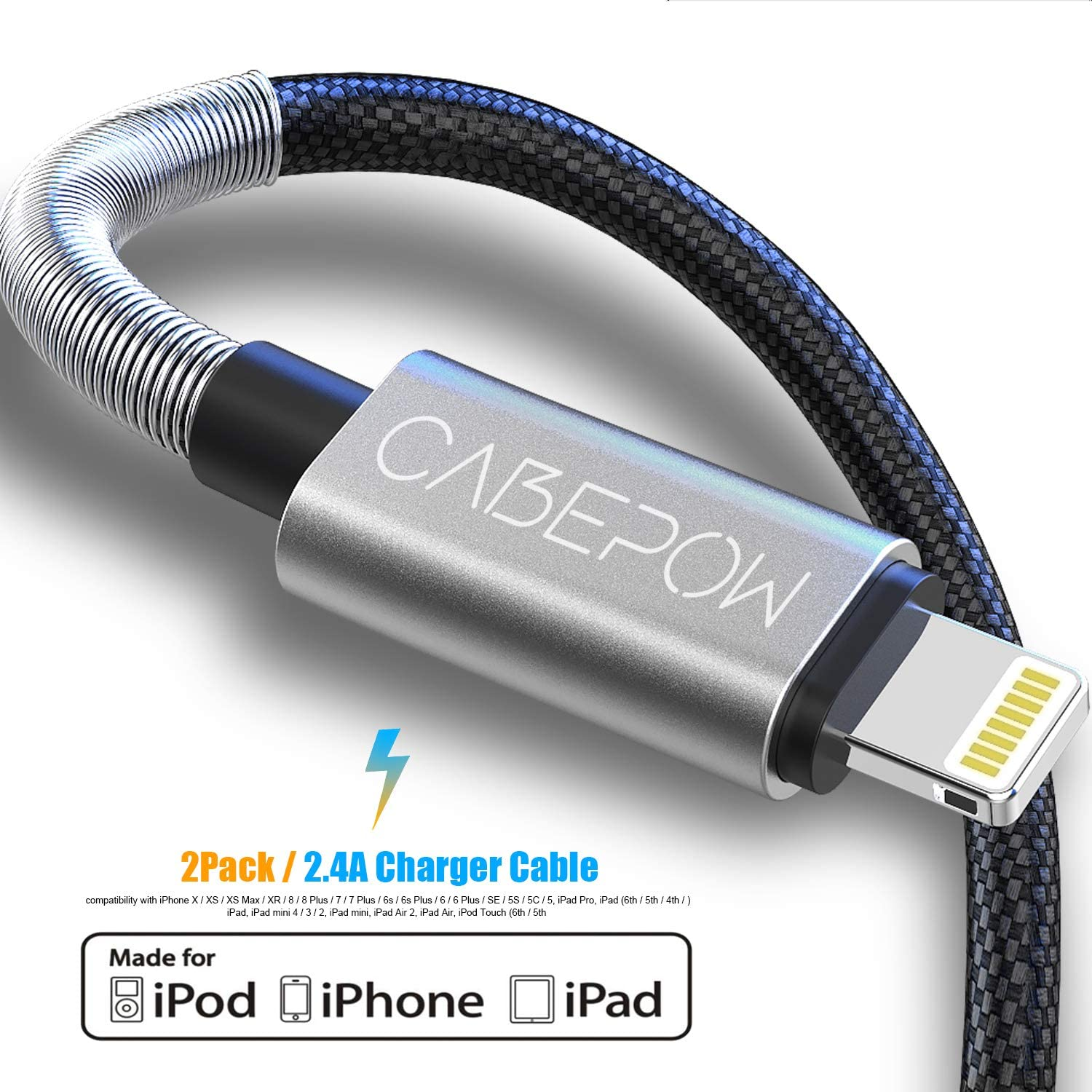 [ Apple MFi Certified ] 2Pack 2M iPhone Charger Cable, CABEPOW Long Lightning Cable 2M,High Fast 6ft iPhone Charging Cable Lead with Metal Connector