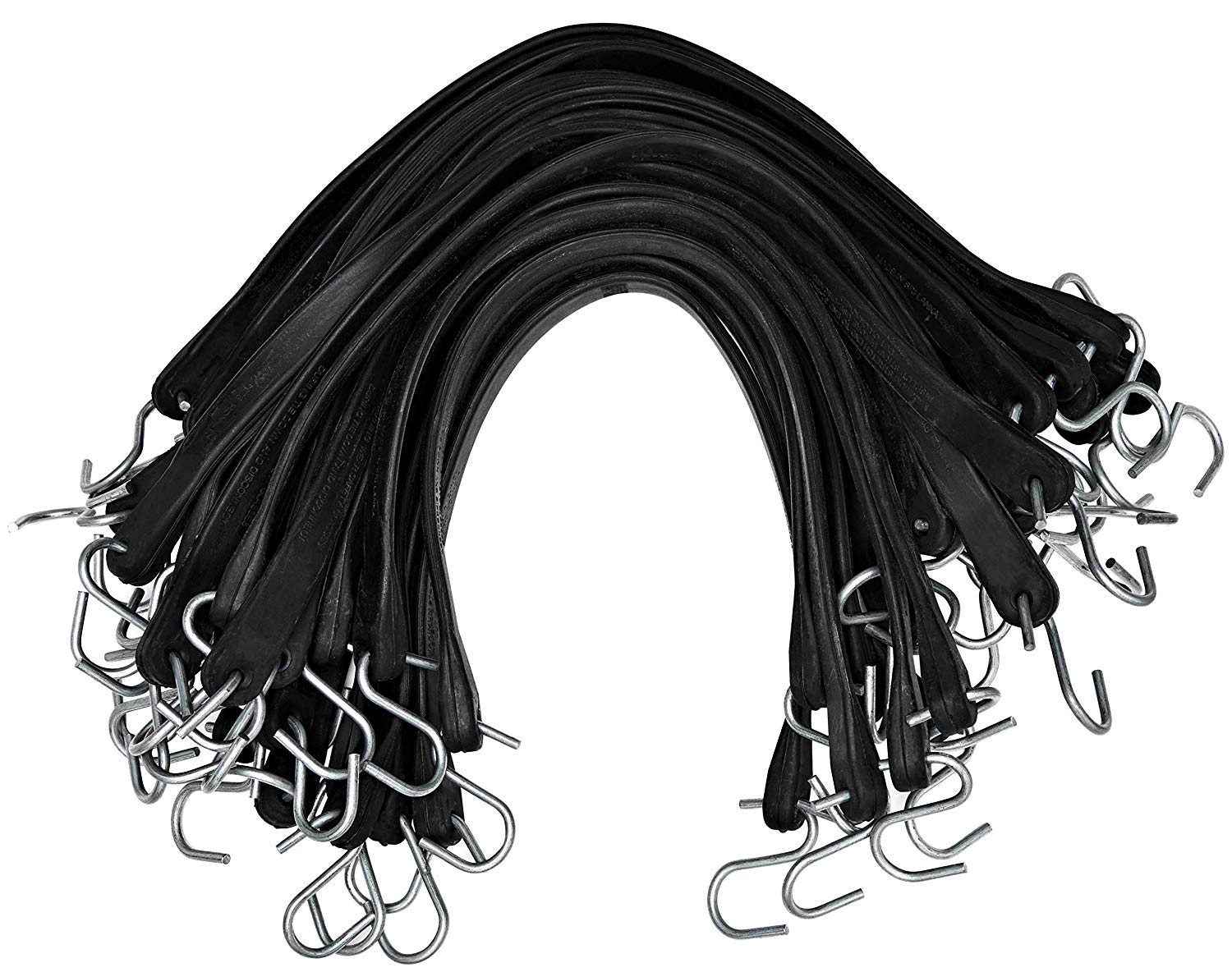 23 max Stretch kitchentoolz Rubber Tarp Straps 15 Pack of 50 Heavy-Duty Natural Rubber Bungee Cords with Hooks