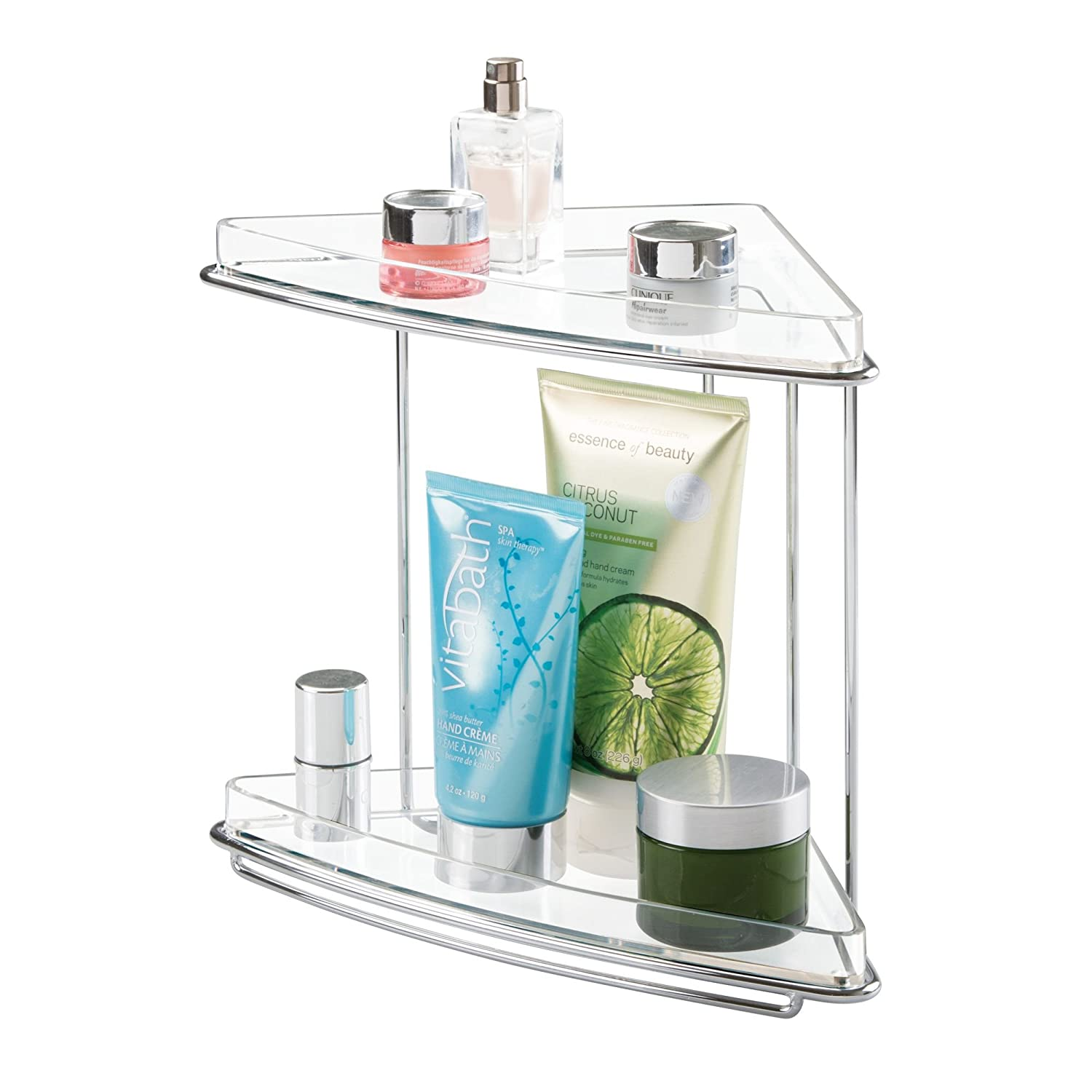 mDesign Metal 2-Tier Corner Storage Organizing Caddy Stand for Bathroom Vanity Countertops, Shelving or Under Sink - Free Standing, 2 Shelves - Chrome/Clear MetroDecor