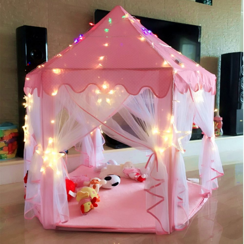 pink kids indoor princess castle play tents outdoor large playhouse portable new ebay. Black Bedroom Furniture Sets. Home Design Ideas