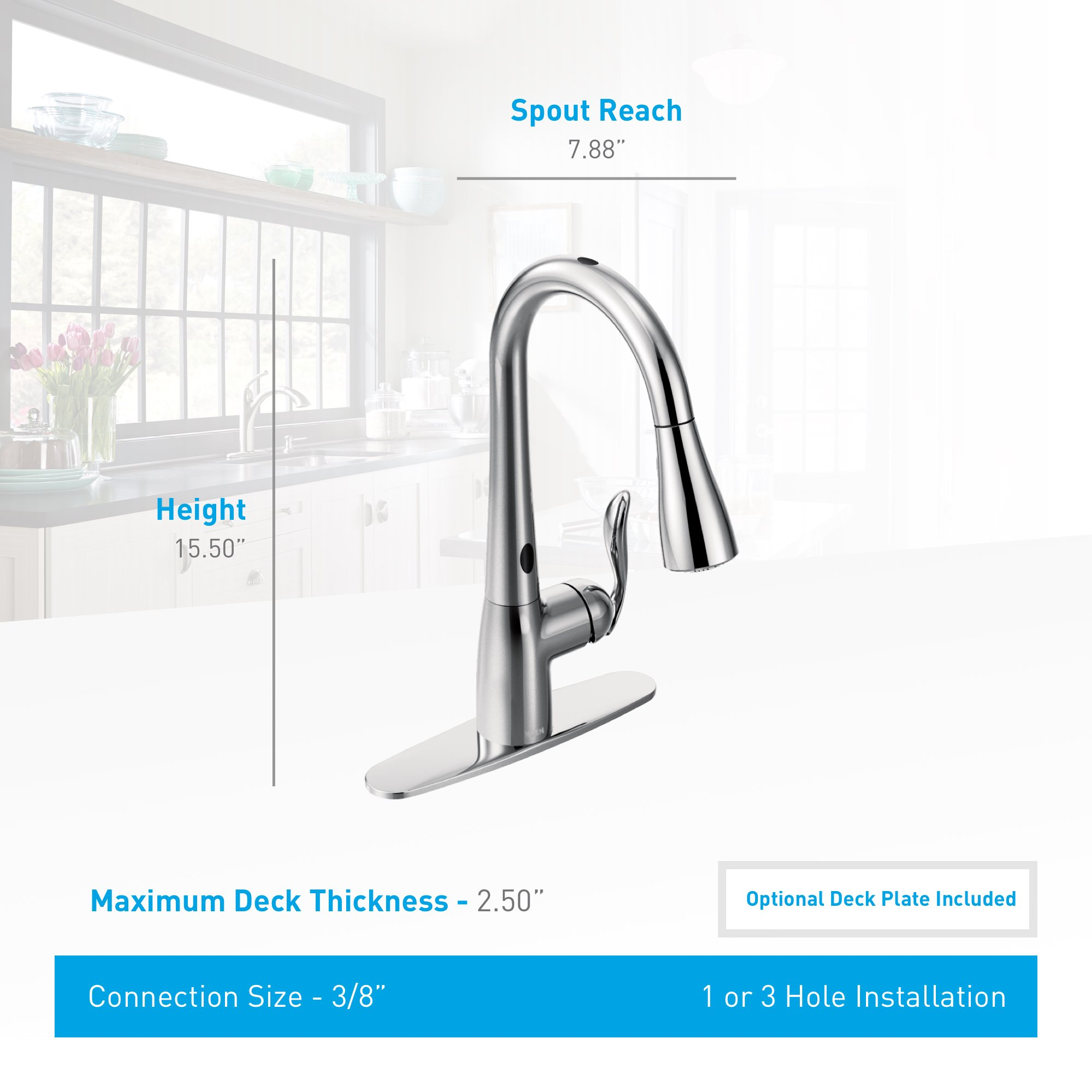Moen Arbor Motionsense Touchless One-Handle High Arc Pulldown Kitchen Faucet Featuring Reflex, Chrome (7594EC) by Moen (Image #3)