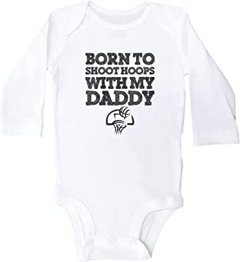 Baffle Born to Shoot Hoops with My Daddy//Baby Basketball Onesie//Bodysuit