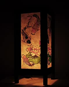 Thai Vintage Handmade Asian Oriental Classic Japanese 3 Lucky Koi Fish Art Bedside Table Light or Floor Wood Paper Lamp Shades Home Bedroom Garden Decor Modern Design from Thailand
